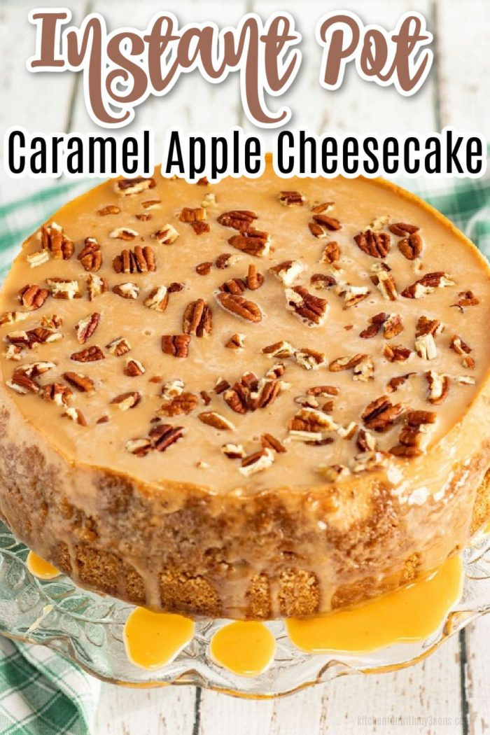 Instant Pot Caramel Apple Cheesecake on a Glass Plate