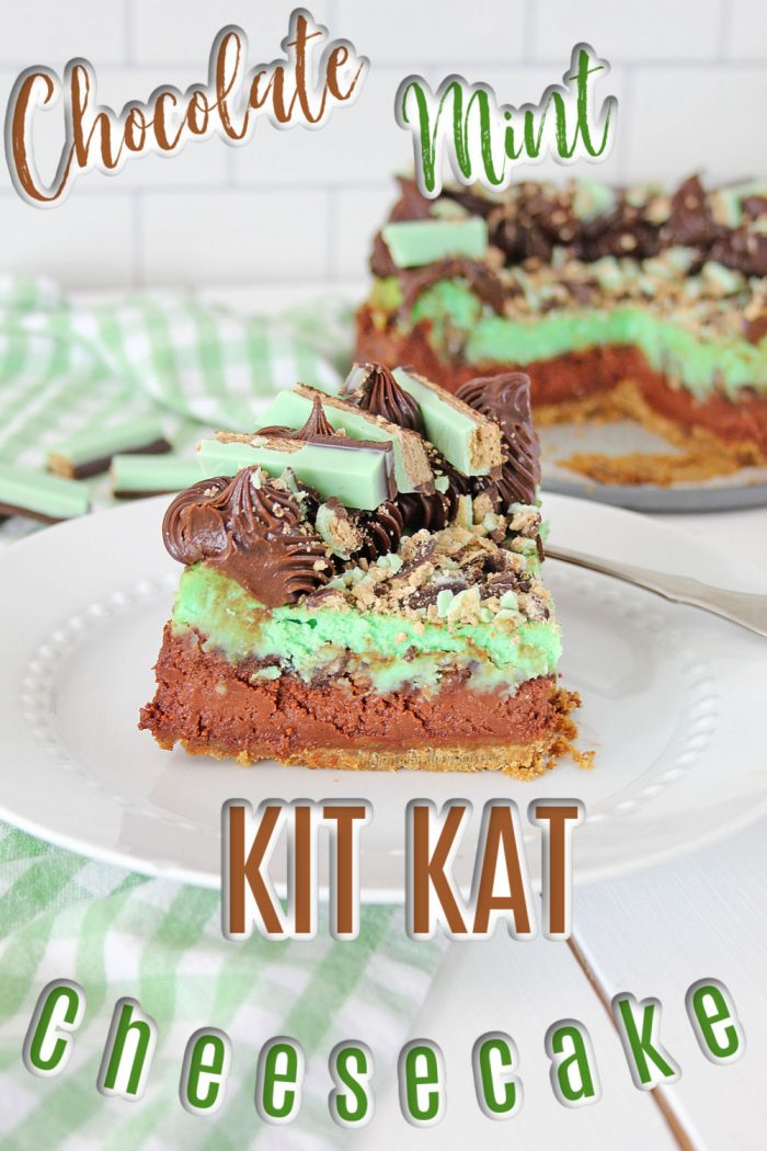 pinterest image for Kit Kat cheesecake