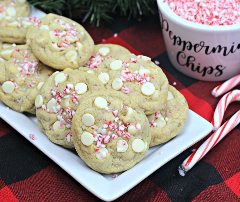 Peppermint White Chocolate Chip Cookies on a serving platter.