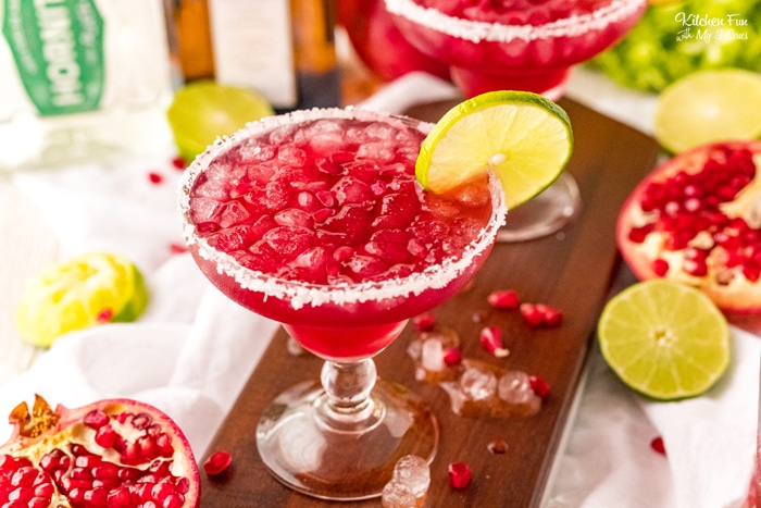 Pomegranate Margarita gives a twist on a traditional margarita with tequila, Cointreau, lime juice, simple syrup, and pomegranate juice.