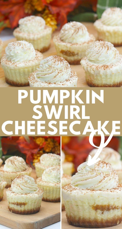 pinterest image of pumpkin swirl cheesecake