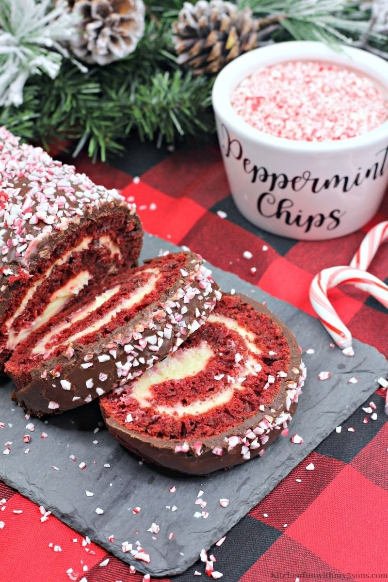 Red Velvet Cake Roll with a cup of crushed peppermint.