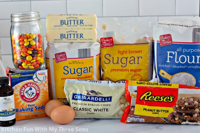 ingredients to make Reese's White Chocolate Chip Cookies