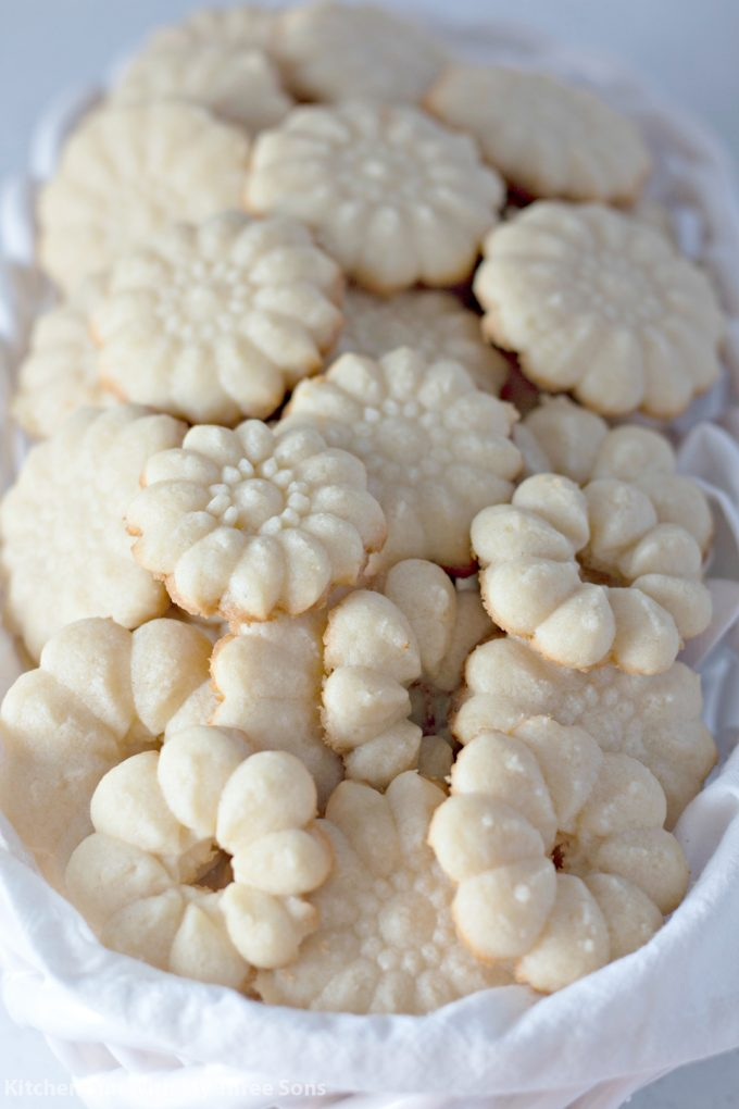 Shortbread Cookie Press Cookies in a white basket