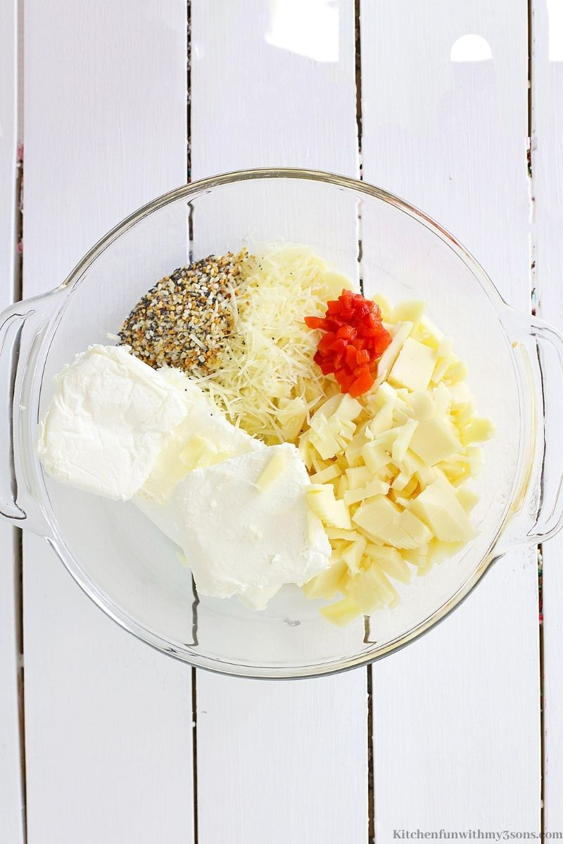 All your cheese ball ingredients in a large bowl.