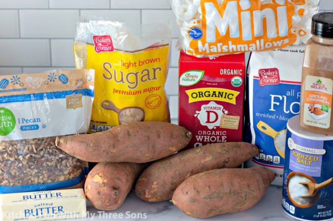 ingredients to make Sweet Potato Casserole with Pecan Streusel and Marshmallows