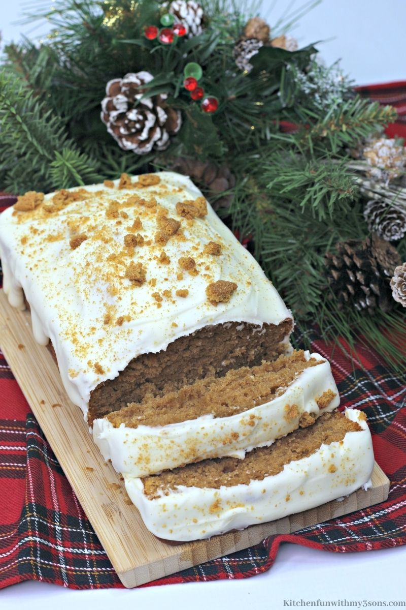 The Best Gingerbread Loaf Recipe on a patterned cloth.