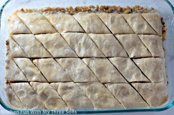 baklava ready to be baked