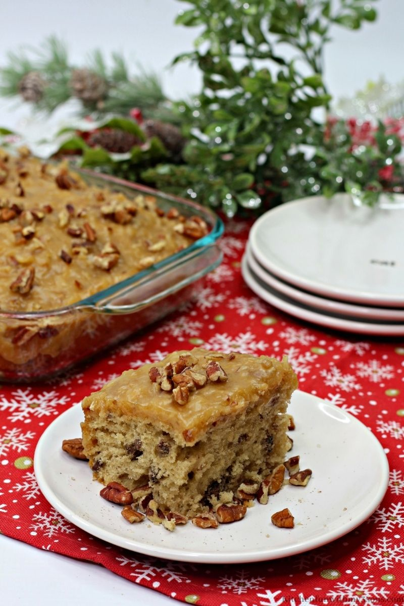 Butter Pecan Sheet Cake on a red Christmas cloth.