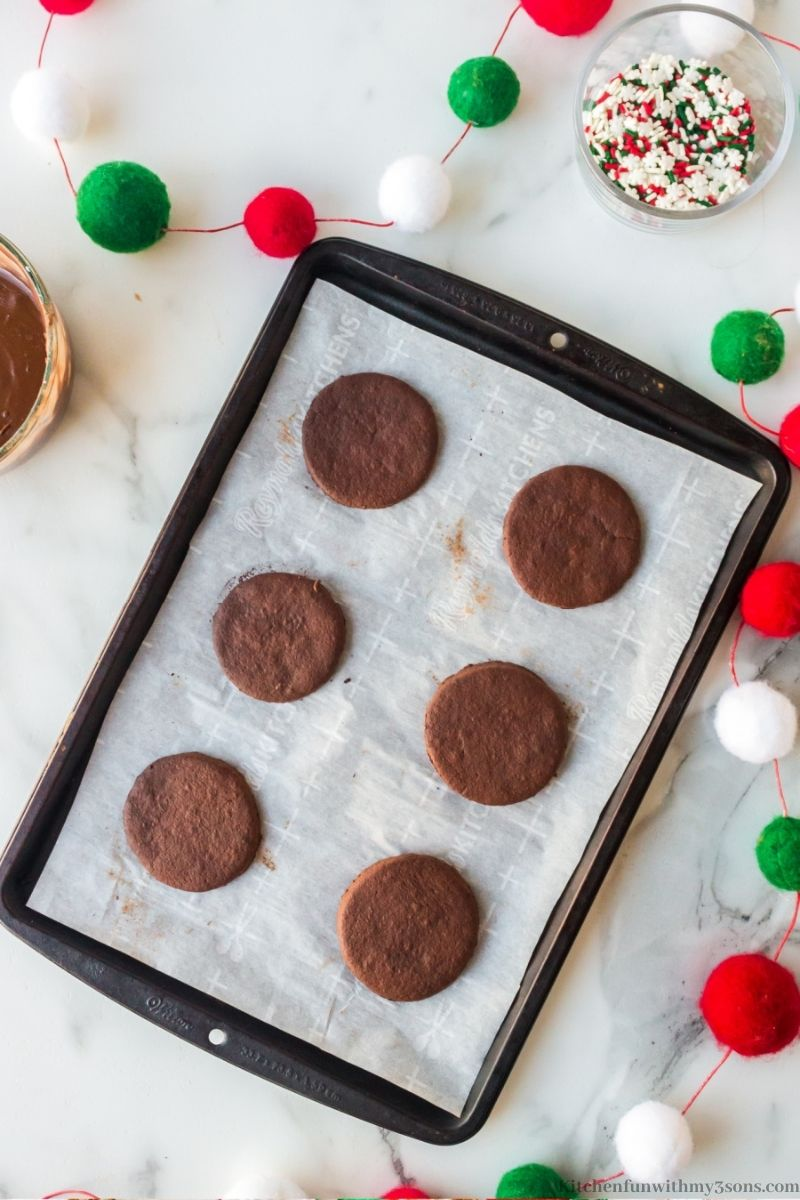 Christmas Chocolate Cookie ready to bake in the oven.