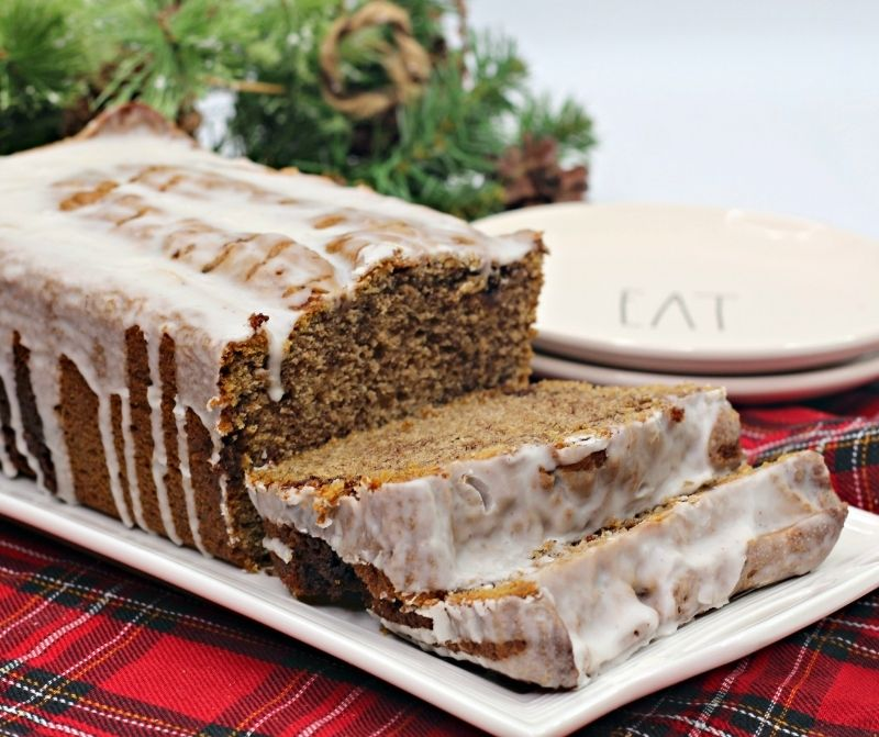 Cinnamon Bread Recipe with Icing on a serving platter.