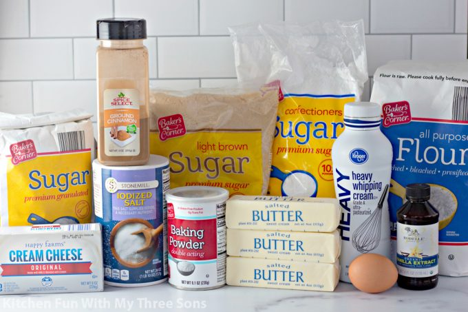 ingredients to make Frosted Cinnamon Roll Cookies