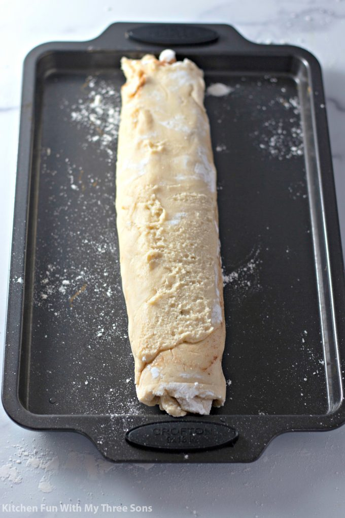 cookie dough rolled up like a jelly roll