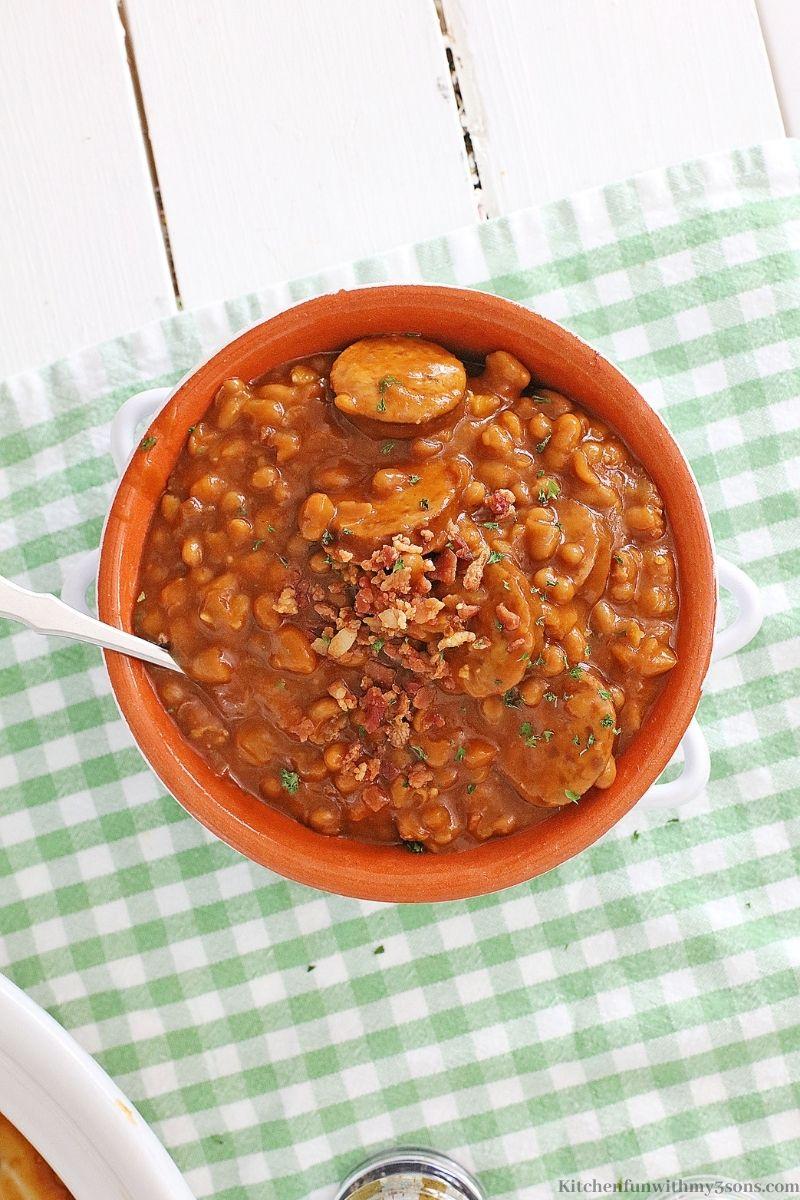 Crock-Pot Kielbasa Sausage and Beans Recipe in a serving bowl.