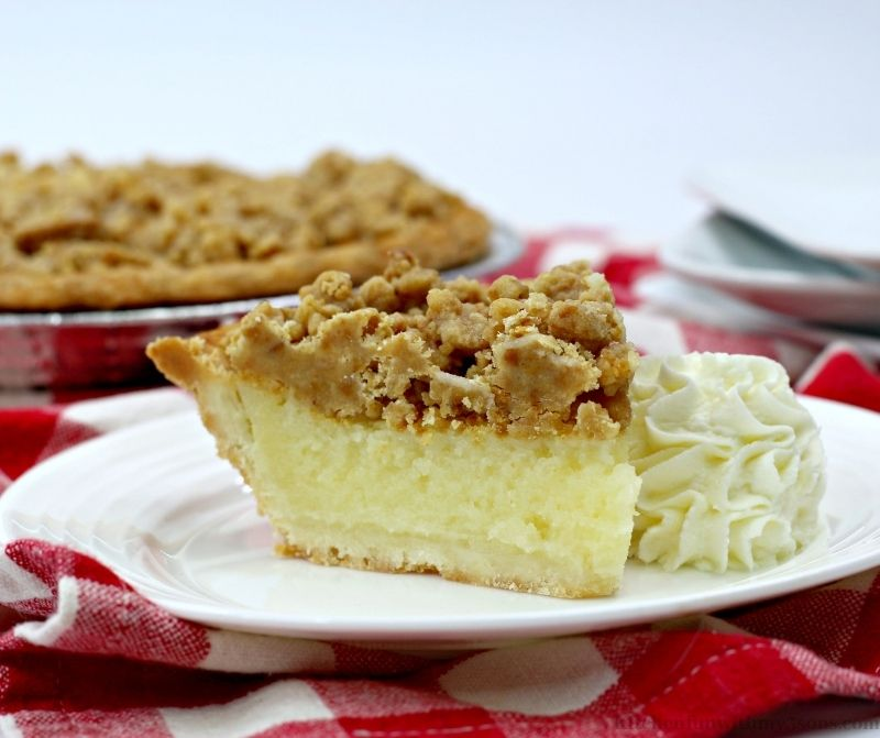 Crumble Eggnog Pie on a serving plate.