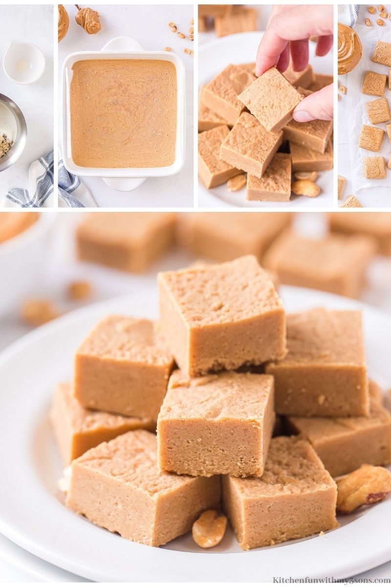 A collage of the Easy Peanut Butter Fudge Recipe.