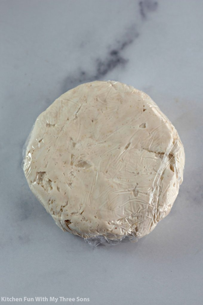 cream cheese disk chilled and ready to be topped