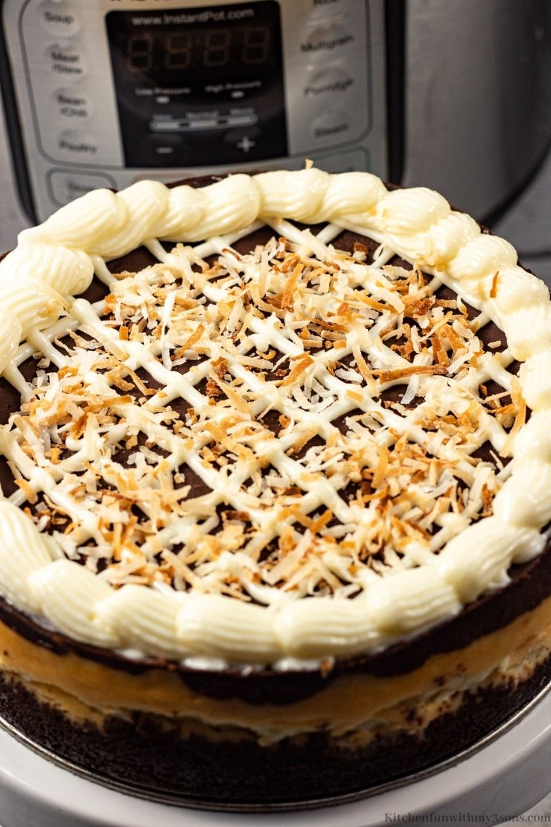 The cake topped with the toasted coconut.