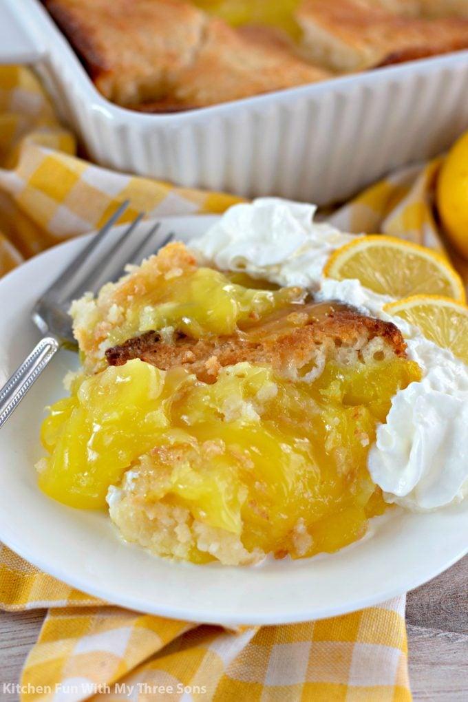 closeup of Lemon Cobbler
