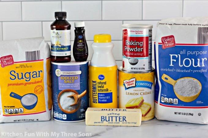ingredients to make Magic Lemon Buttermilk Cobbler