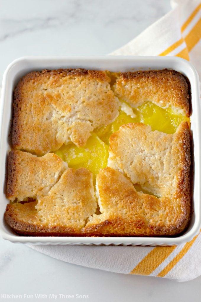 freshly baked Magic Lemon Buttermilk Cobbler