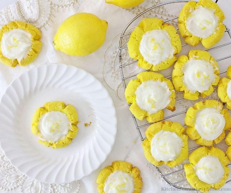 Lemon Sugar Cookies on a serving plate.