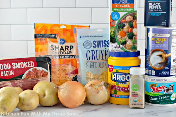 ingredients to make Cheesy Loaded Scalloped Potatoes