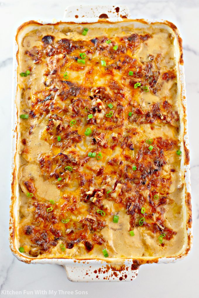 freshly baked Cheesy Loaded Scalloped Potatoes