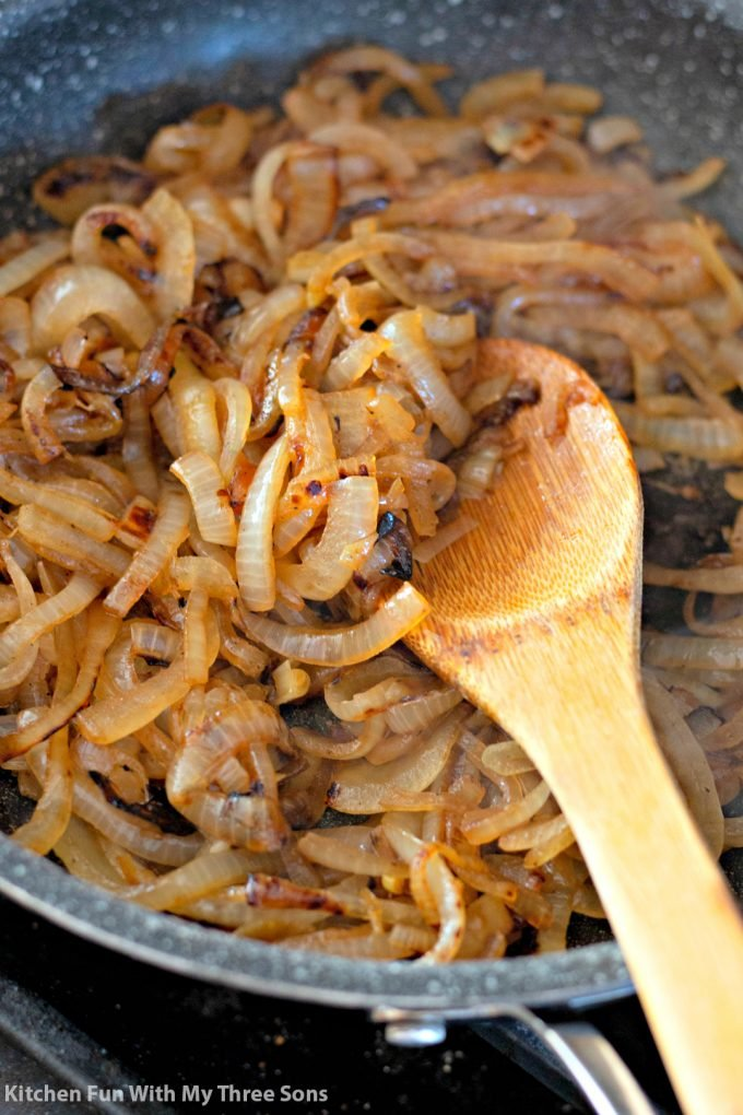 caramelized onions in a frying pan