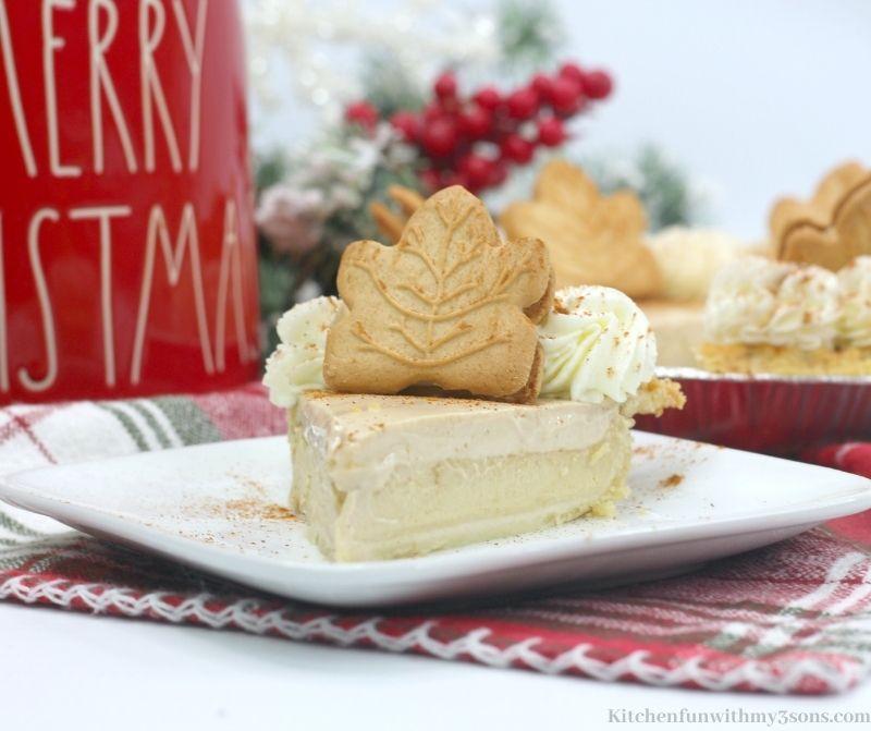 Maple Buttermilk Pie Recipe on a serving plate.
