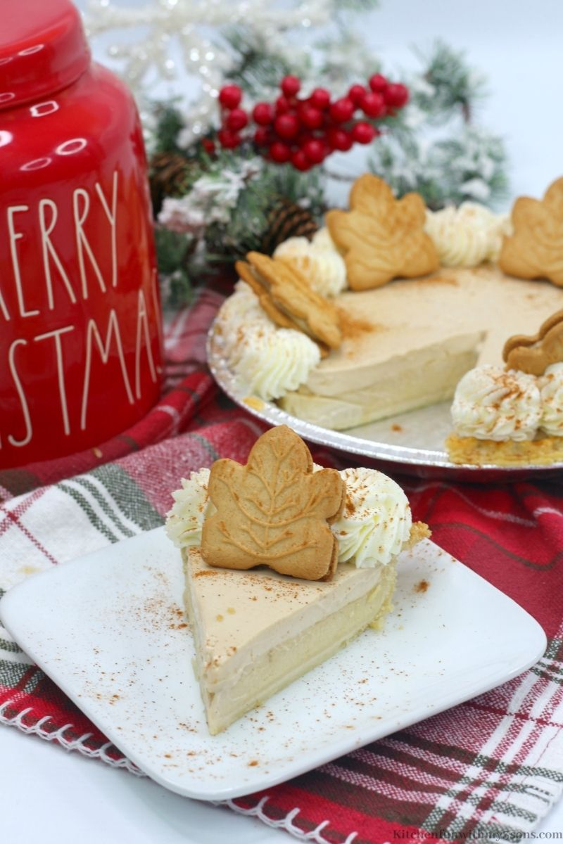 Maple Buttermilk Pie Recipe with a Christmas themed jar next to it.