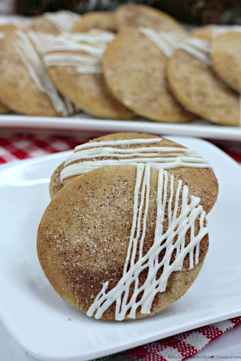 Two Maple Chai Sugar Cookies on a serving plate.