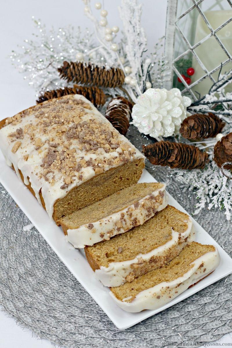 Maple Sweet Potato Bread on a white platter.