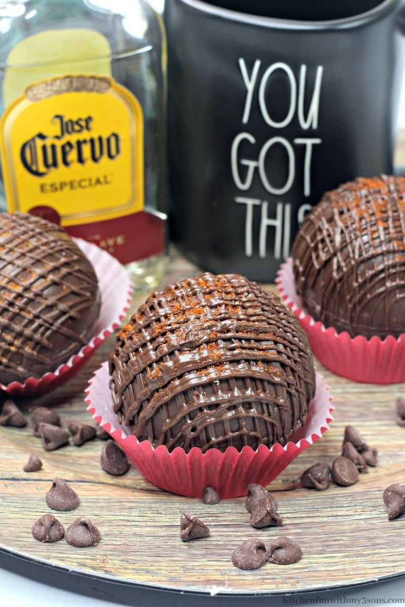 Mexican Hot Cocoa Tequila Bombs with extra chocolate chips around them.