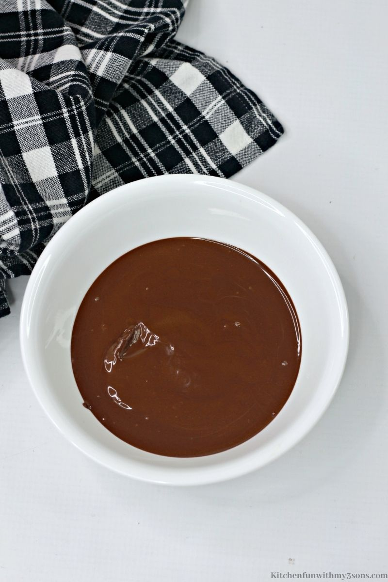 Melted Chocolate chips in a small bowl.