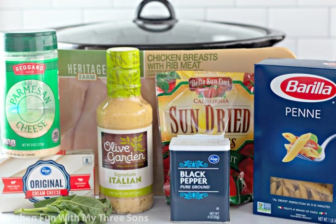 ingredients to make Slow Cooker Olive Garden Chicken Pasta