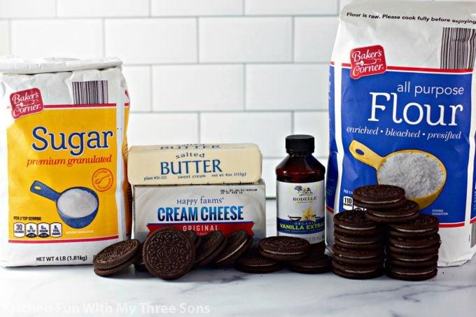ingredients to make Oreo Cheesecake Cookies