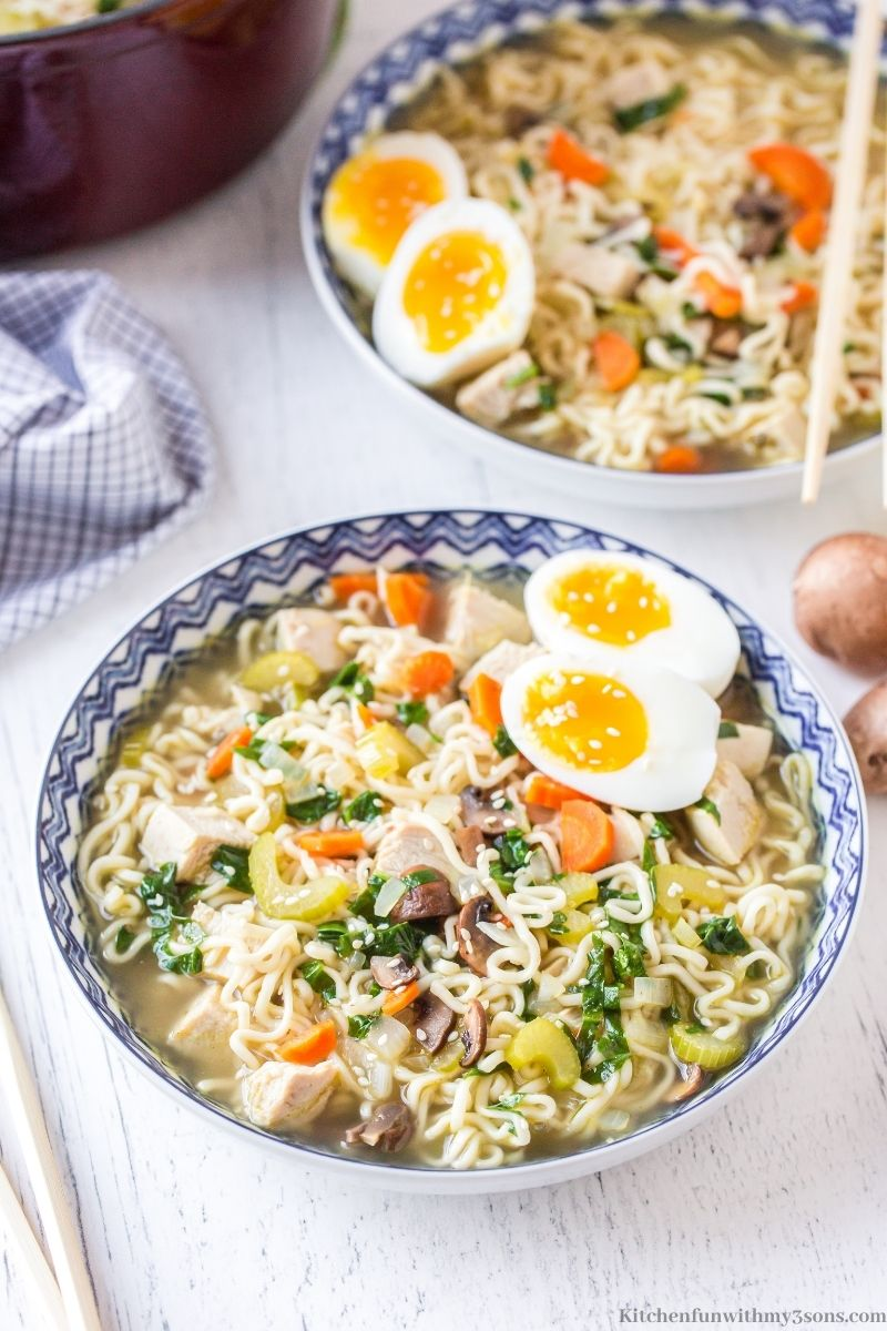 Ramen Chicken Noodle Soup with two eggs on top.
