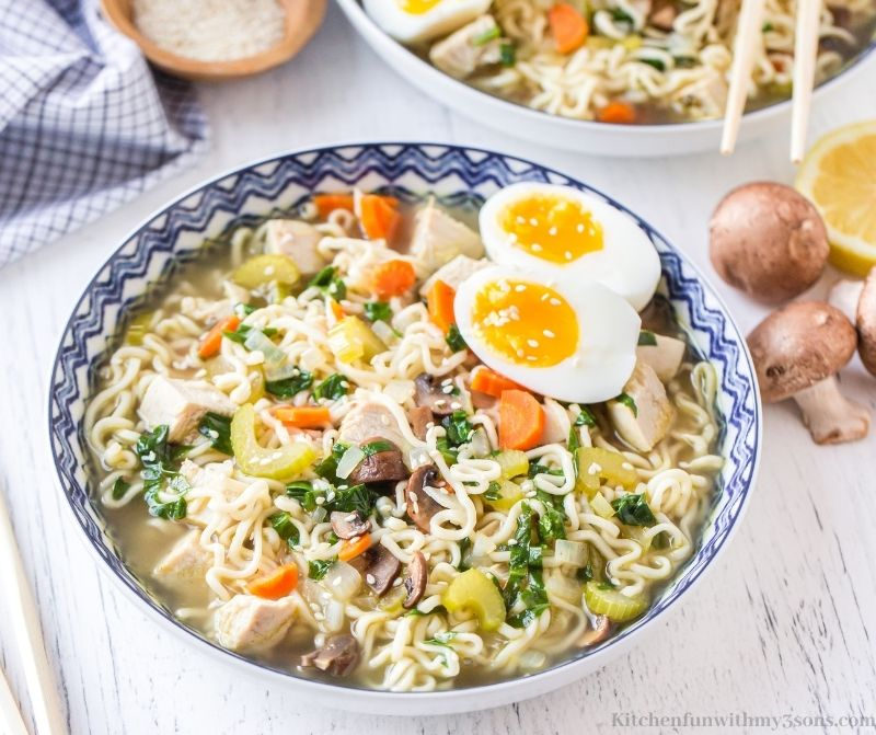 Ramen Chicken Noodle Soup in a serving bowl.