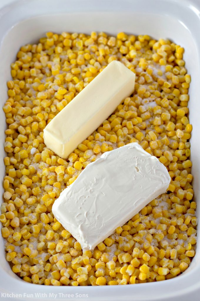 butter and cream cheese on corn
