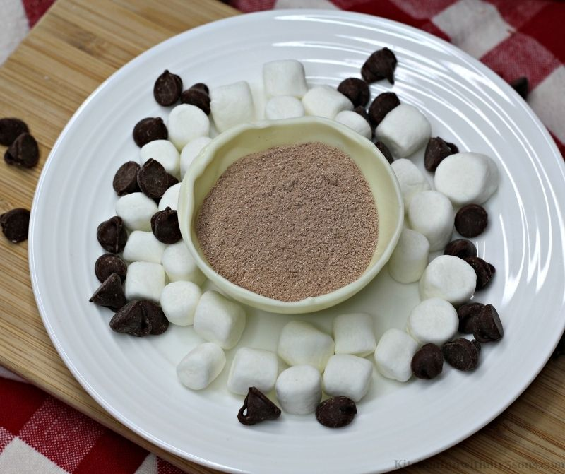Cocoa mix in 1 half of the sphere.