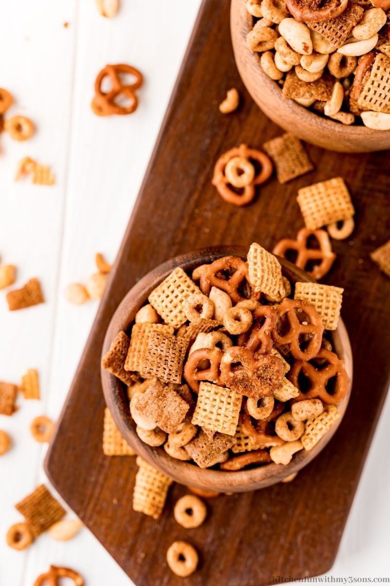 Texas Trash Snack Mix Recipe in serving bowls.