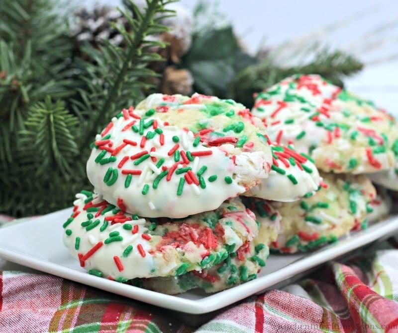 The Best Christmas Butter Cookies on a white serving platter.