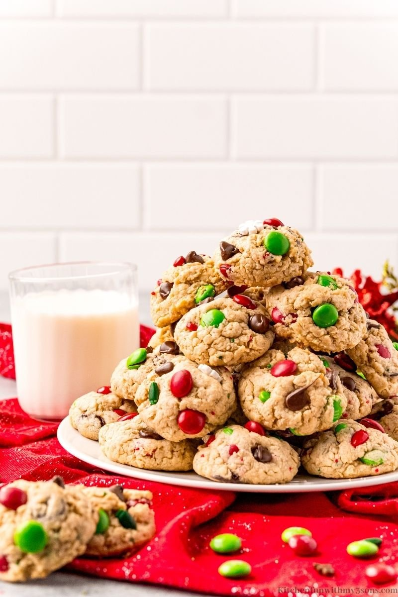 The Best Christmas Monster Cookies with a glass of milk.