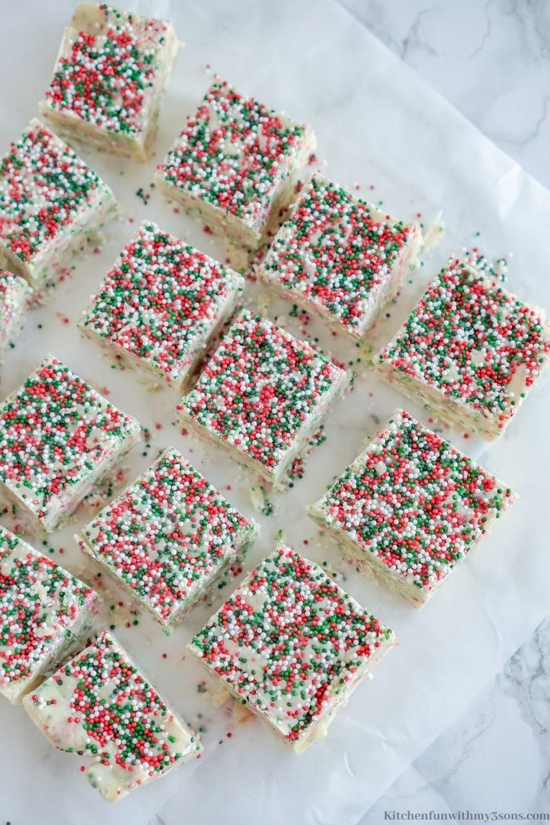 The Best Sugar Cookie Fudge cut into squares.