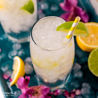 A Vodka Tonic is such a classic cocktail. It's made with a vodka base, Indian tonic water and lemon and lime juices for a bit of tartness.