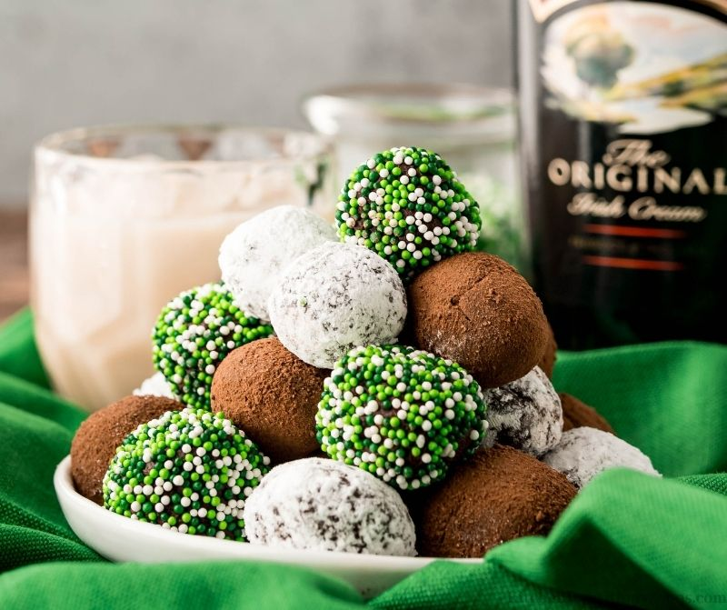 Bailey's Irish Cream Truffles on a serving plate.