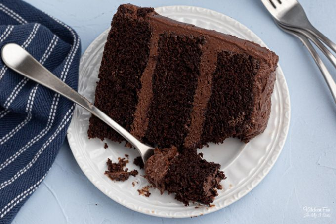 A chocolate cake recipe that is rich and moist and has absolutely the most incredible chocolate flavor. Topped with homemade chocolate frosting.