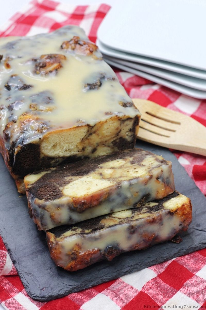 Bourbon Donut Bread Pudding sliced into serving pieces.