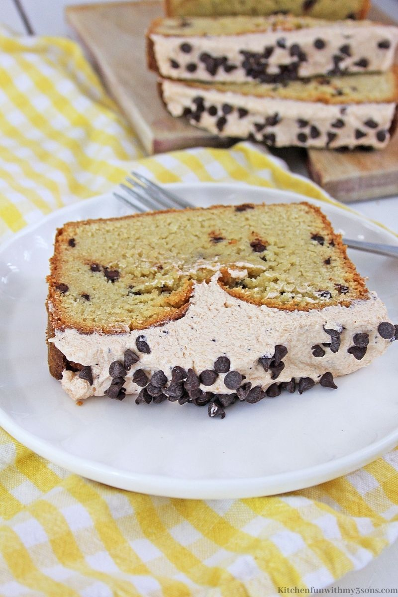Cappuccino Chocolate Chip Bread on a white and yellow checkered cloth.